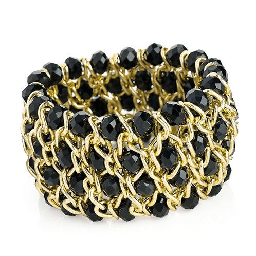 Black Bead Gold Linked Stretchy Bracelet