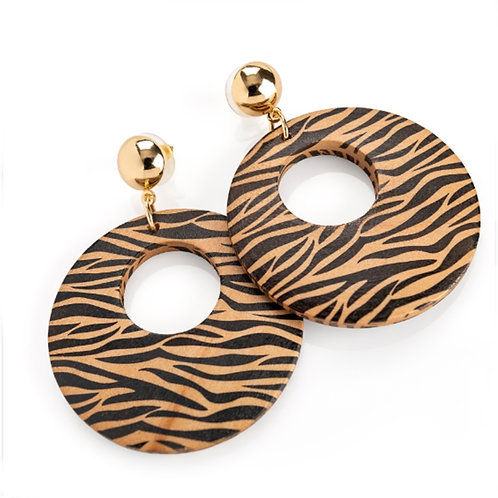 Brown Animal Print Round retro Dangly Earrings