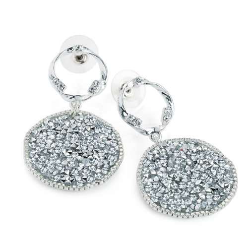 Silver Glittery Crystal Disc Dangly Earrings