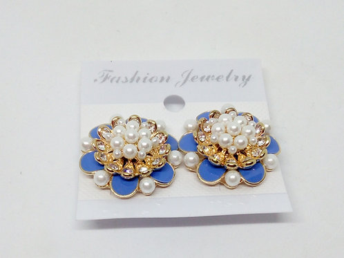 Womens Blue Pearly Clip on Earrings