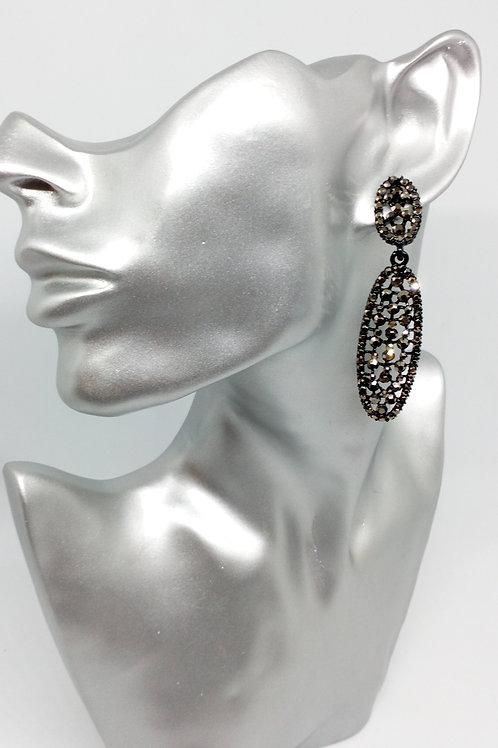Black Enamel Hematie Rhinestone Drop Earrings