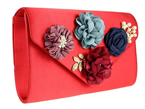 Red Satin Corsage Flower Evening Clutch Bag