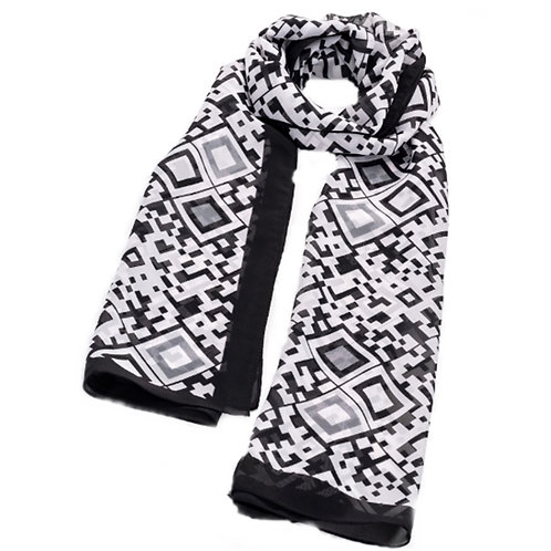 Black white Geometric Squares Pattern Scarf