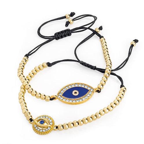 Two Piece Gold Black Eye Bracelet