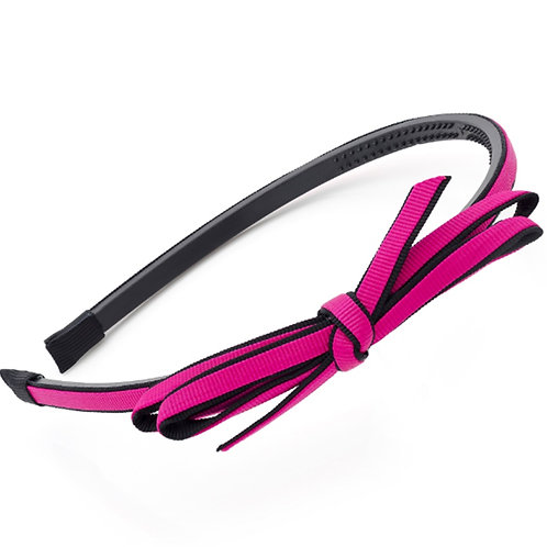 Fuchsia Pink Black Knotted Bow Hair band