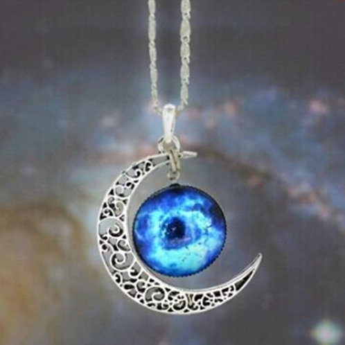 Silver Moon and Universe Pendant Necklace