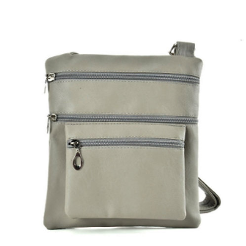 Unisex Small Grey PU Cross Body Messenger Bag