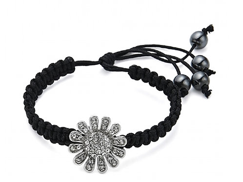 Black Tie Bracelet with Crystal Flower