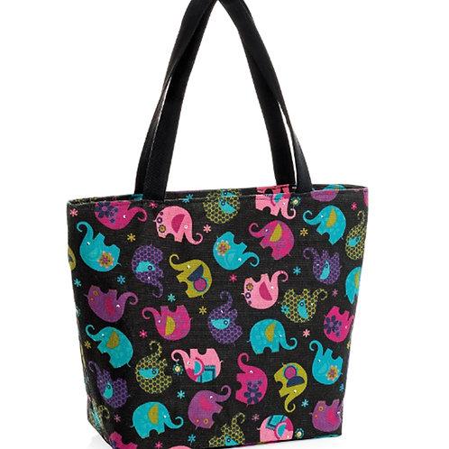 Black Tote Shopper Bag with Elephants