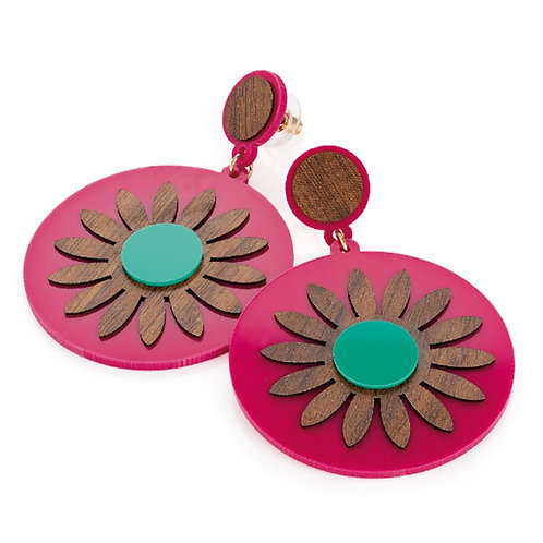 Large Fuchsia Wood Effect Disc Earrings