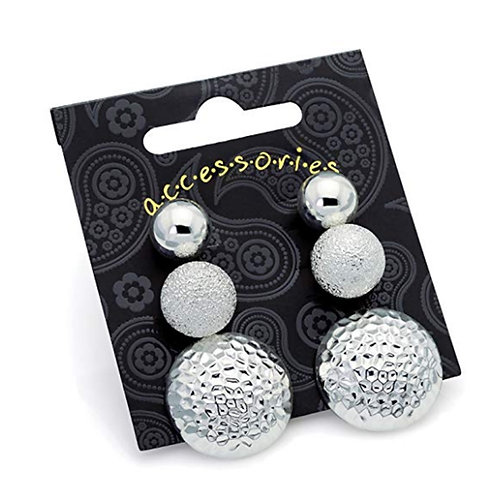 Set of Three Silver Stud Earrings