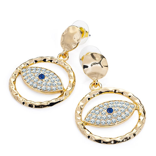 Kitsch Gold Look Blue bead Eye Crystal Earrings