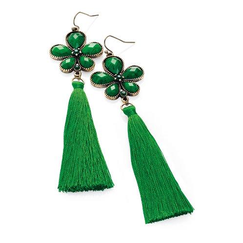 Womens Emerald Green Tassel Jewelled Flapper Earrings