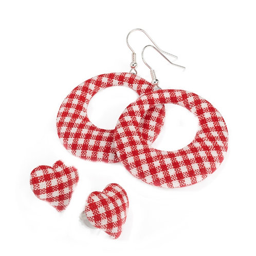 Set of Two Red Checked Gingham Earrings