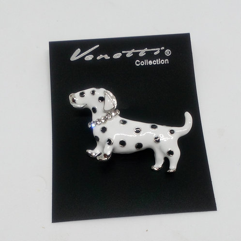 White Sausage Dog Dachshund Spotty Brooch Pin