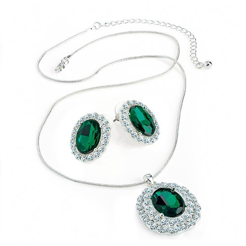 Womens Silver  Green Crystal Jewelled Necklace Earring Set