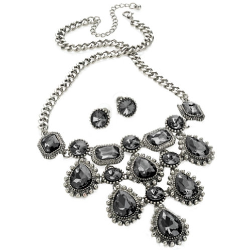Black Jewelled Necklace Earring Set Silver Chain