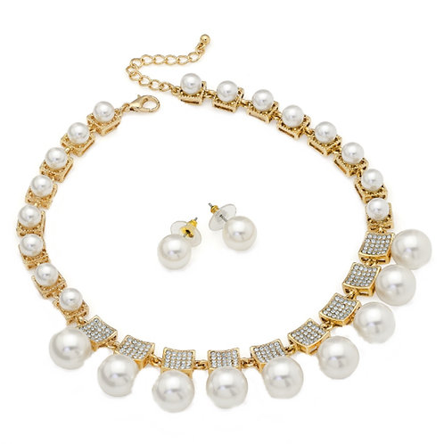 Ivory White Pearly Bead Necklace Earring Set