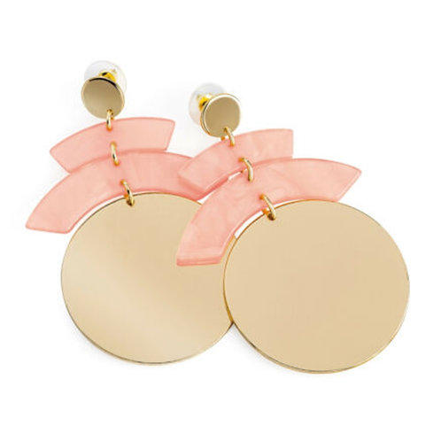 Womens Gold Disc Earrings Pink Marble