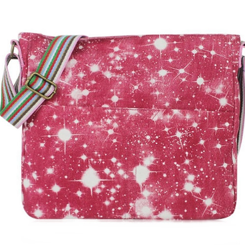 Pink Galaxy Universe Canvas Messenger Bag