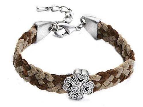 Unisex Brown Beige Flower Bracelet