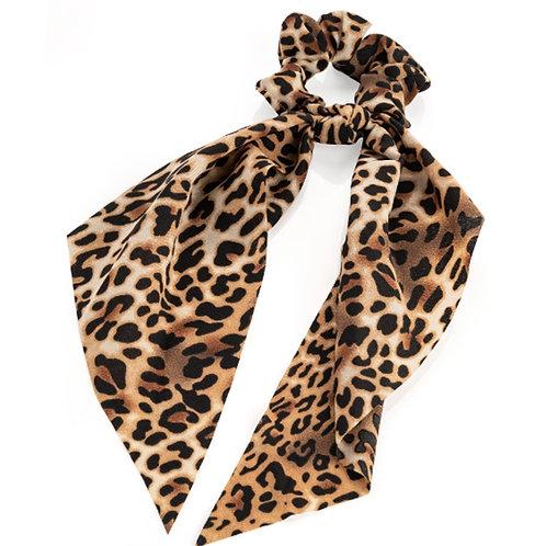 Brown animal print long tail hair scrunchie