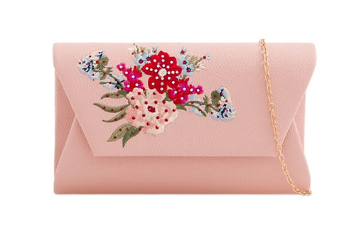 Light Pink Faux Leather Flower Clutch Bag