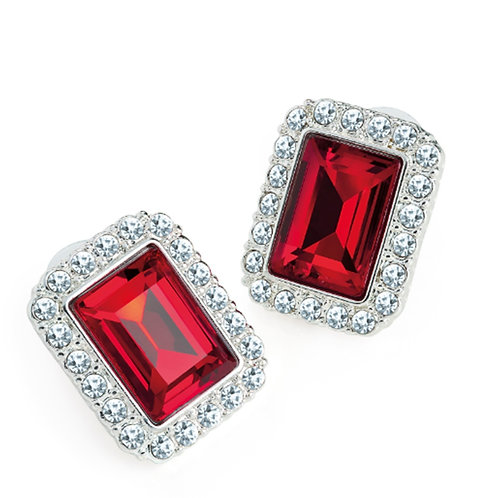 Womens Red silver jewelled rectangle stud earrings