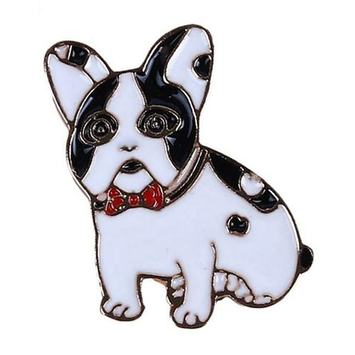 Small Enamel French Bulldog Pin Badge Brooch