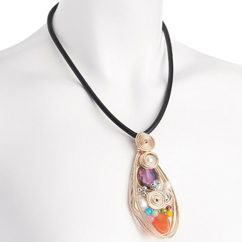 Womens Black Cord Bead Pendant Necklace