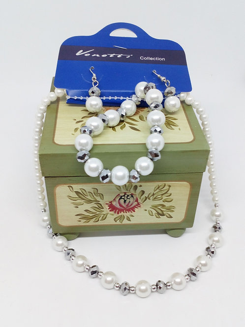 Ivory White Bead Necklace Set Earrings and Bracelet