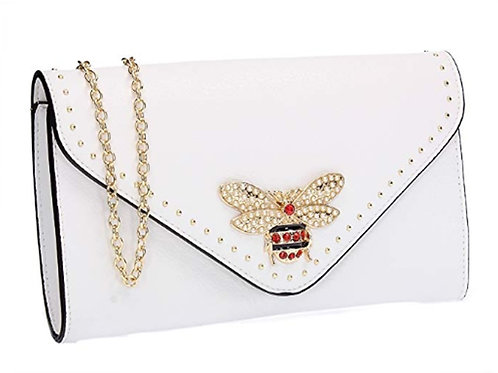 Womens White Clutch Bag Pearl Crystal Bee