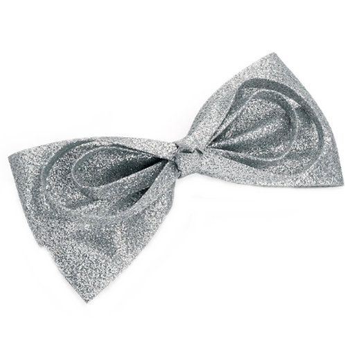 Silver Glitter Hair Bow on Clip