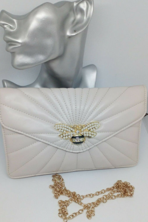 Beige Clutch Bag Pearly Bee