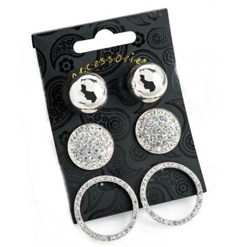 Set of Three Silver Stud Fashion Earrings