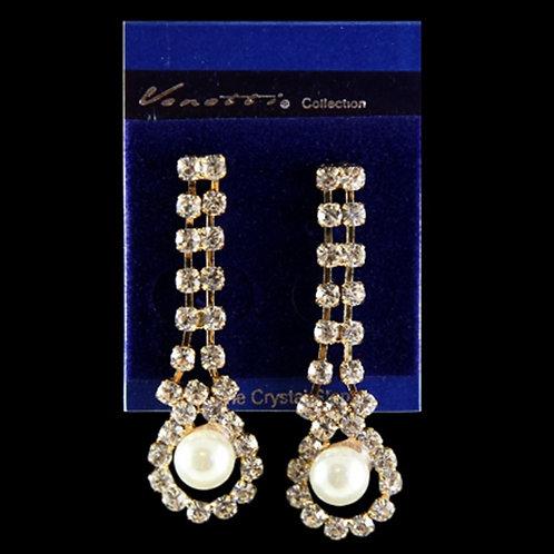 Womens Diamante Pearl Dangle Gold Earrings