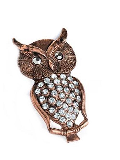 Burnished Rose Gold Owl Brooch