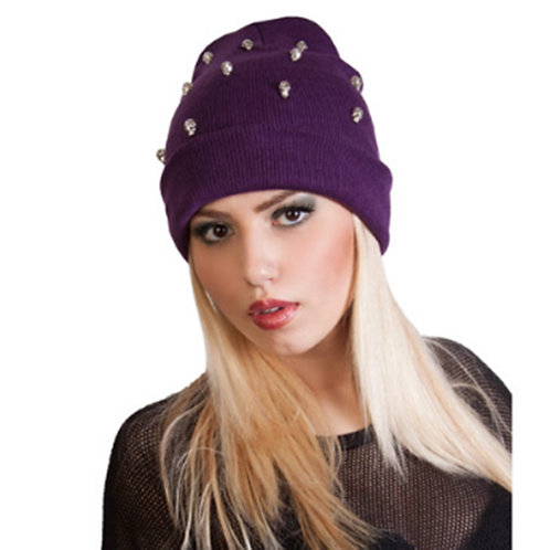 Purple Unisex Knitted Skull Beanie Hat