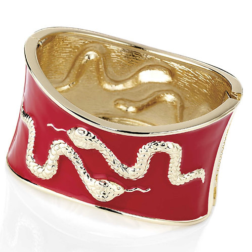 Chunky Red Gold Snake Bangle Bracelet