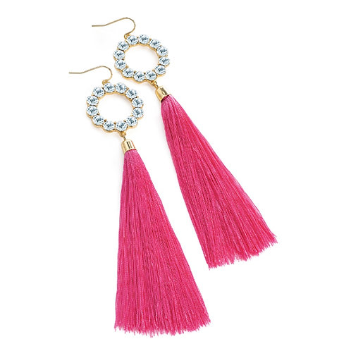 Long Pink Tassel Earrings Crystal Detail