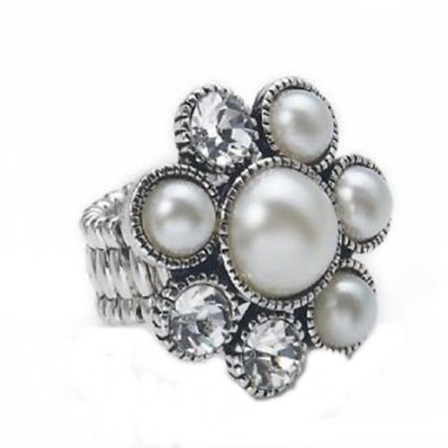 Grey Pearl Flower Stretch Ring