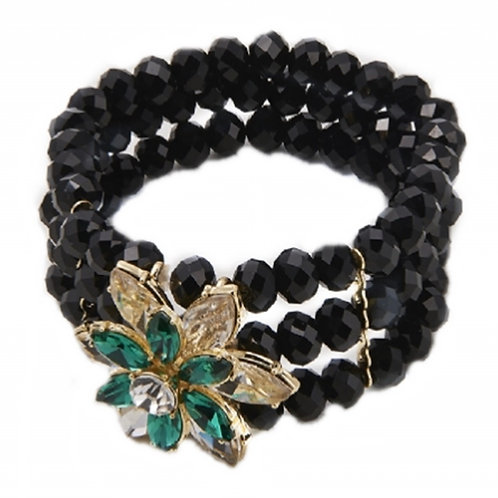 Black Bead Stretch Bracelet Green Jewelled Flower