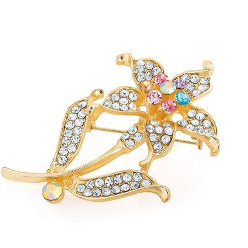 Pretty Gold Crystal Flower Brooch
