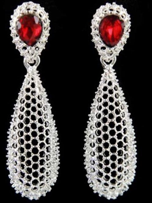 Silver Mesh Dangle Earrings Red Jewel