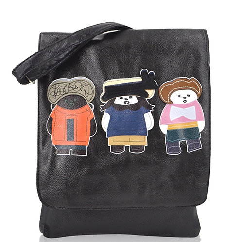 Small Black Cross Body Bag with Three Friends