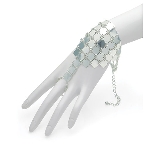 Bollywood Style Silver Chain Mail Finger Bracelet
