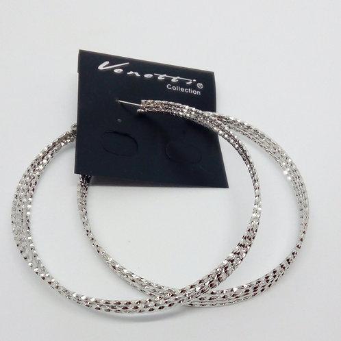 Large Silver Four Row Hoop Earrings