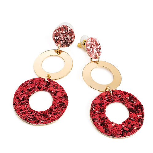 Womens Dangly Gold Hoop Earrings Red & Pink Glitter