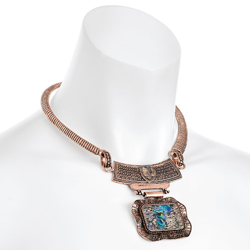 Rose Gold Collar Necklace Blue Shell Effect Pendant