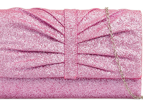 Light Sugary Pink Glitter Evening Clutch Bag